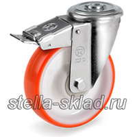 Колесо 60-й серии под болт с тормозом на шариковом подшипнике