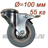 Колесо аппаратное под болт 12 мм с тормозом Ø=100